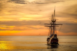 Ship - at sunset