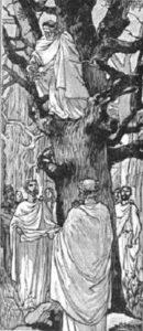 Celtic Druids gathering mistletoe with a sickle blade