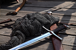 medieval weapons - chainmail and sword