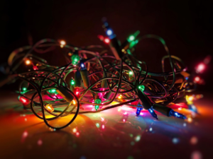 Writing Process - tangle of christmas lights